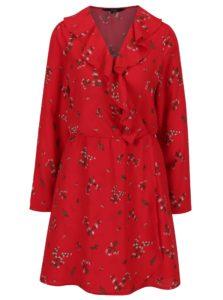 Červené kvetované šaty s volánom VERO MODA Parisan