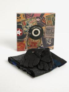 Pánska darčeková súprava čiernych kožených rukavíc a šálu Portland d6086e9d2e