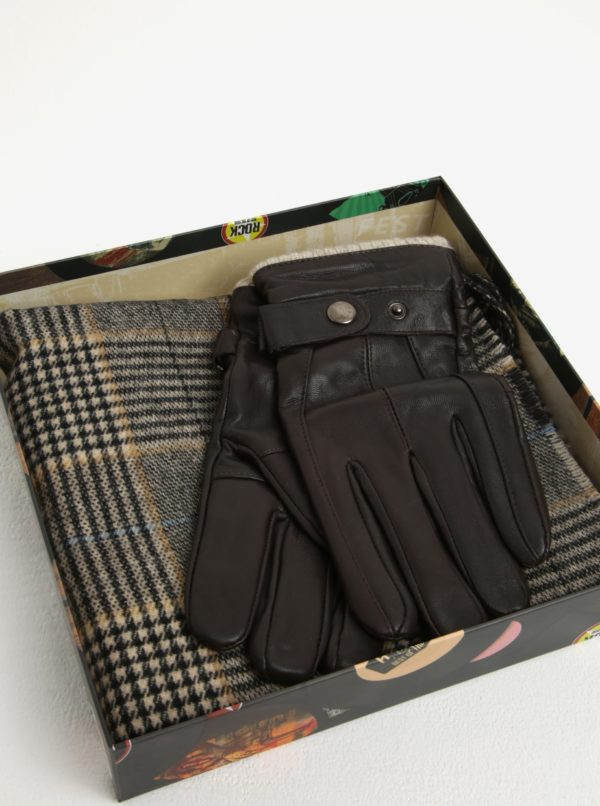 Pánska darčeková súprava hnedých kožených rukavíc a šálu Portland