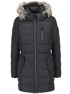 Sivý prešívaný kabát s kapucňou ONLY Dana