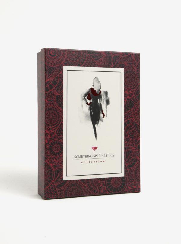 Fialovo-ružová dámska darčeková súprava vlnených rukavíc a šálu Something Special