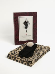 Béžovo-čierna dámska súprava vlnených rukavíc a šálu Something Special