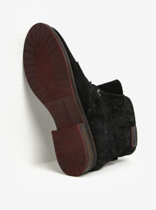 Čierne dámske semišové zimné členkové topánky s.Oliver