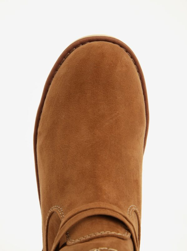 425470f937 Hnedé dámske zimné členkové topánky v semišovej úprave na platforme s.Oliver