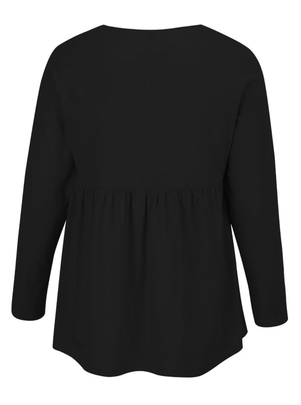 Čierna tunika s dlhým rukávom Ulla Popken