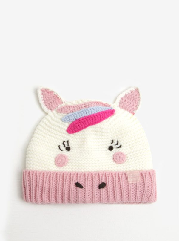 Ružovo-krémová dievčenská čiapka v tvare jednorožca Tom Joule
