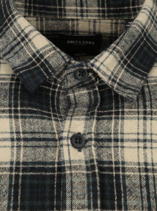 Béžovo-zelená pánska flanelová košeľa ONLY & SONS Billy