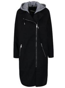 Čierny dlhý kabát s odopínateľnou kapucňou Noisy May Cohiba