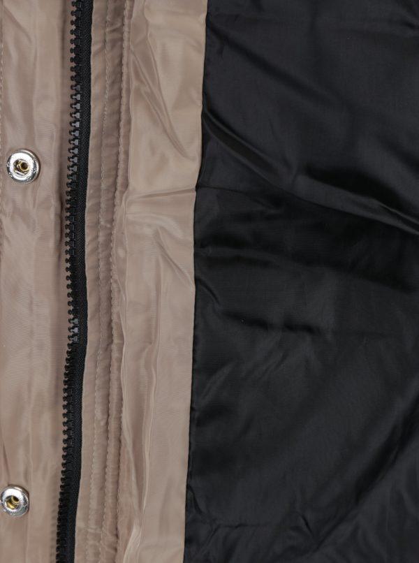 Béžový páperový prešívaný kabát s umelou kožušinou VERO MODA Fea