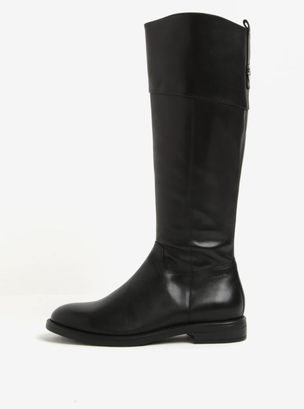 Čierne dámske vysoké kožené čižmy Vagabond Amina