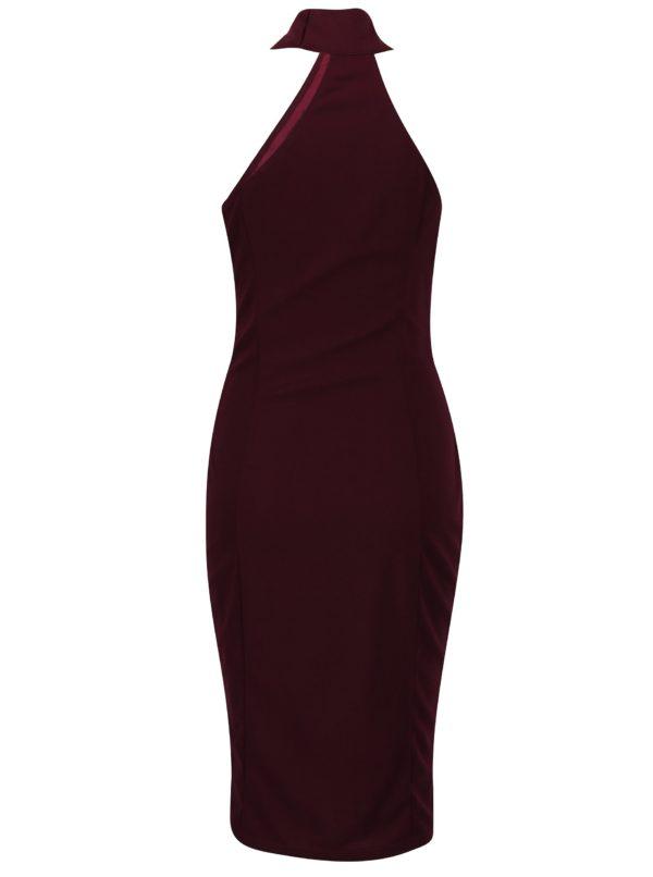 Vínové puzdrové šaty s chokerom AX Paris