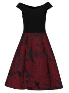 Čierne šaty s vínovou kvetinovou sukňou Ax Paris