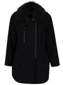 Čierny kabát s umelým kožúškom Ulla Popken