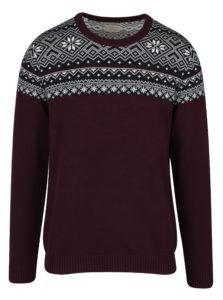 Vínový sveter s nórskym vzorom Selected Homme Christ