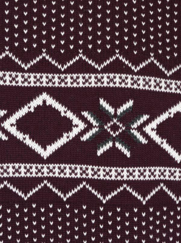 Krémovo-vínový sveter s nórskym vzorom Selected Homme Blizzard