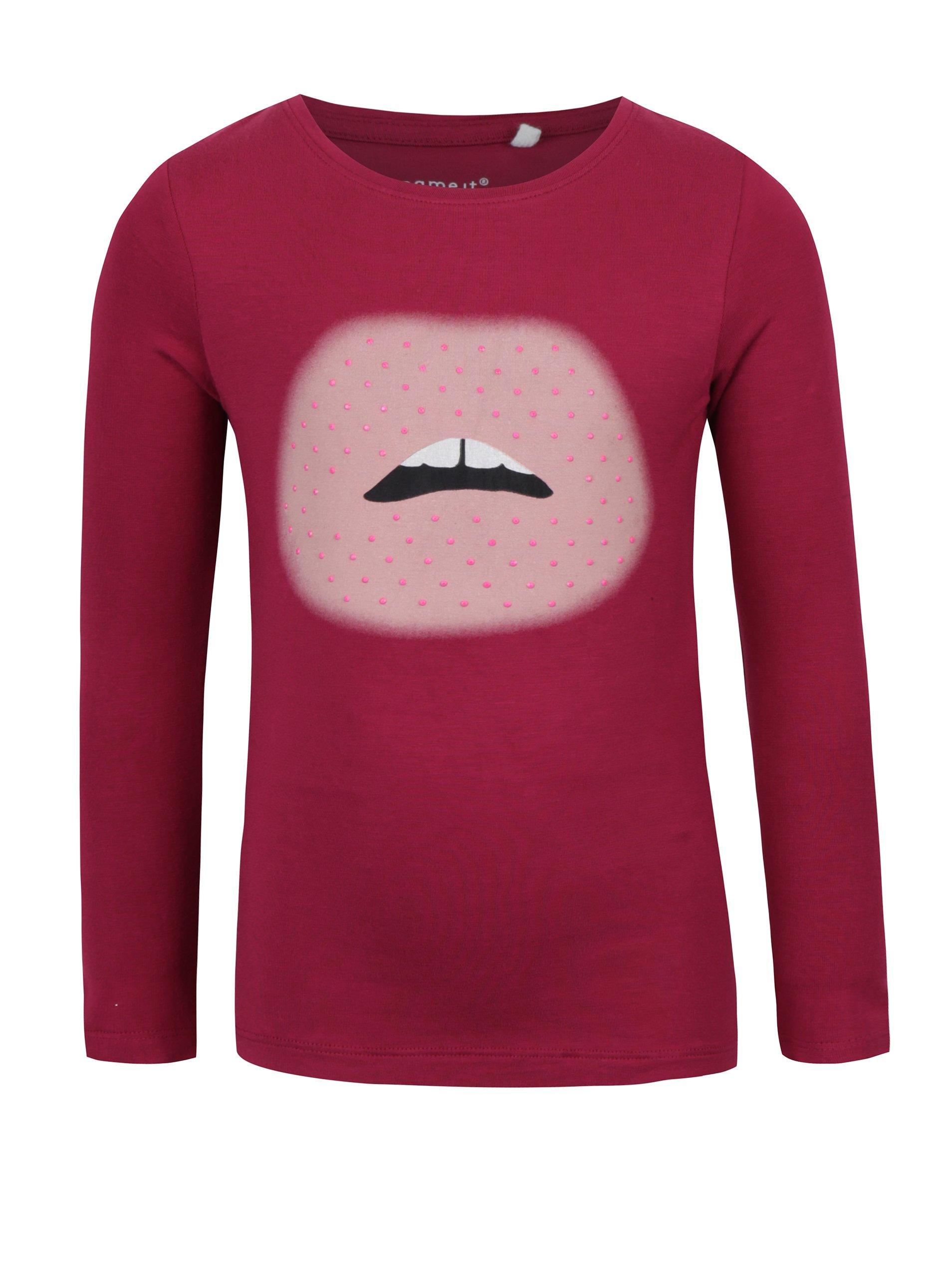 a15ca2aac8e0 Ružové dievčenské tričko s potlačou a dlhým rukávom name it Hips ...