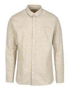 Béžová melírovaná košeľa s dlhým rukávom Selected Homme Two Phillip