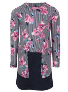 Ružovo-modré dievčenské pruhované šaty s kvetmi Tom Joule Sadie