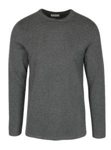 Sivé pruhované tričko s dlhým rukávom Selected Homme Ray