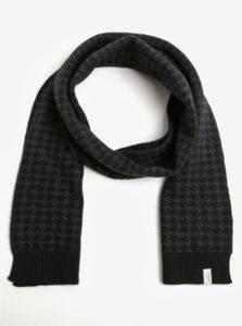 Sivo-čierny vzorovaný vlnený šál Selected Homme Mason