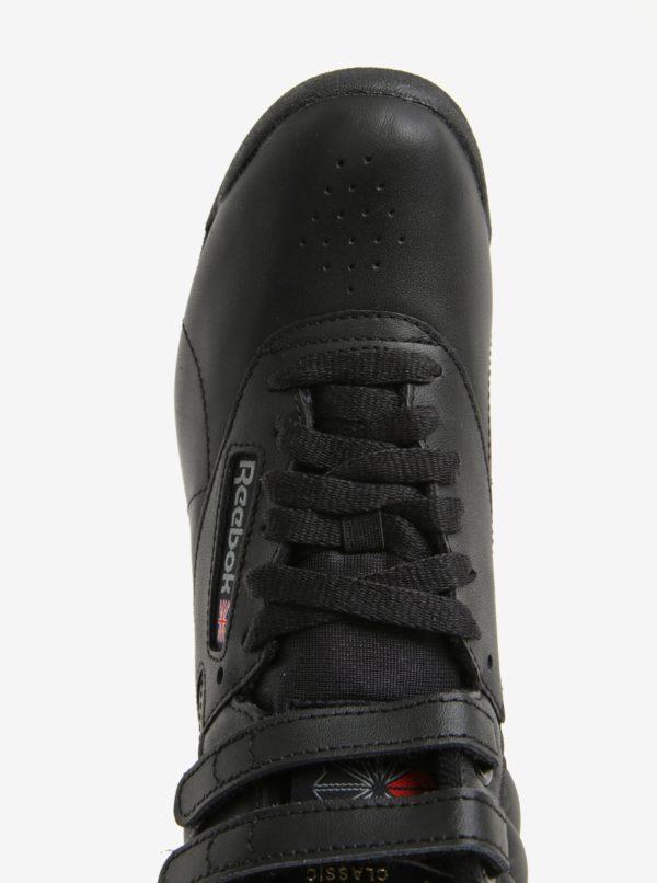 Čierne dámske kožené členkové tenisky s prackou Reebok  60a6ea5da44