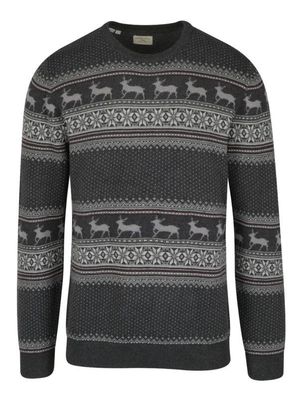 Tmavosivý sveter so vzorom Selected Homme New Reindeer