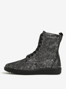 Sivé kožené metalické vzorované členkové topánky OJJU