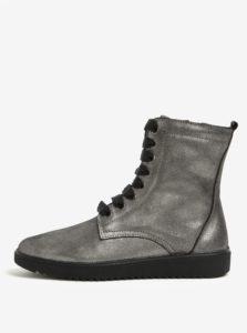 Sivé kožené metalické členkové topánky OJJU