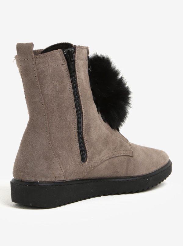 Sivé semišové členkové topánky s brmbolcami OJJU