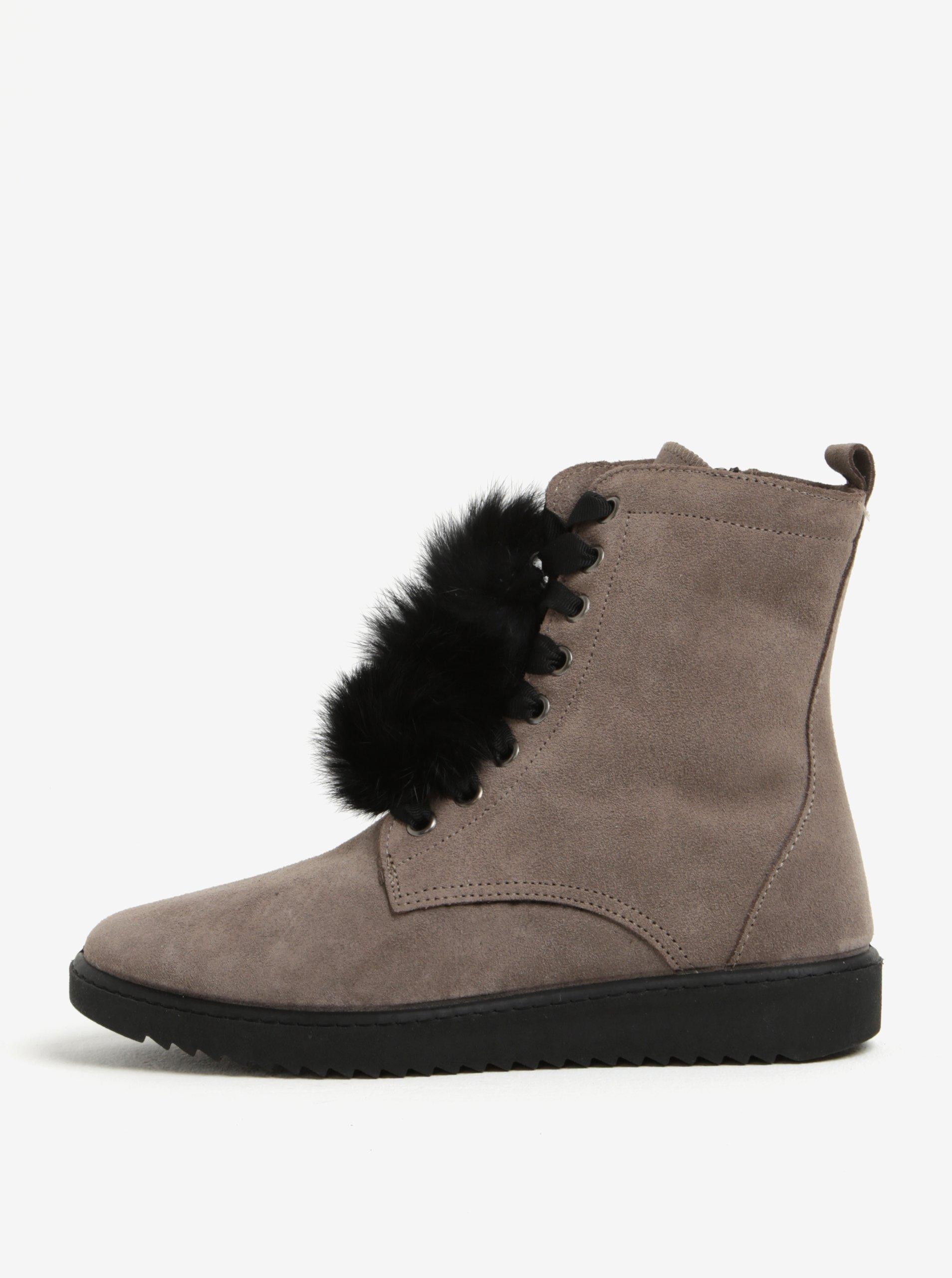 ecbff0e959 Sivé semišové členkové topánky s brmbolcami OJJU