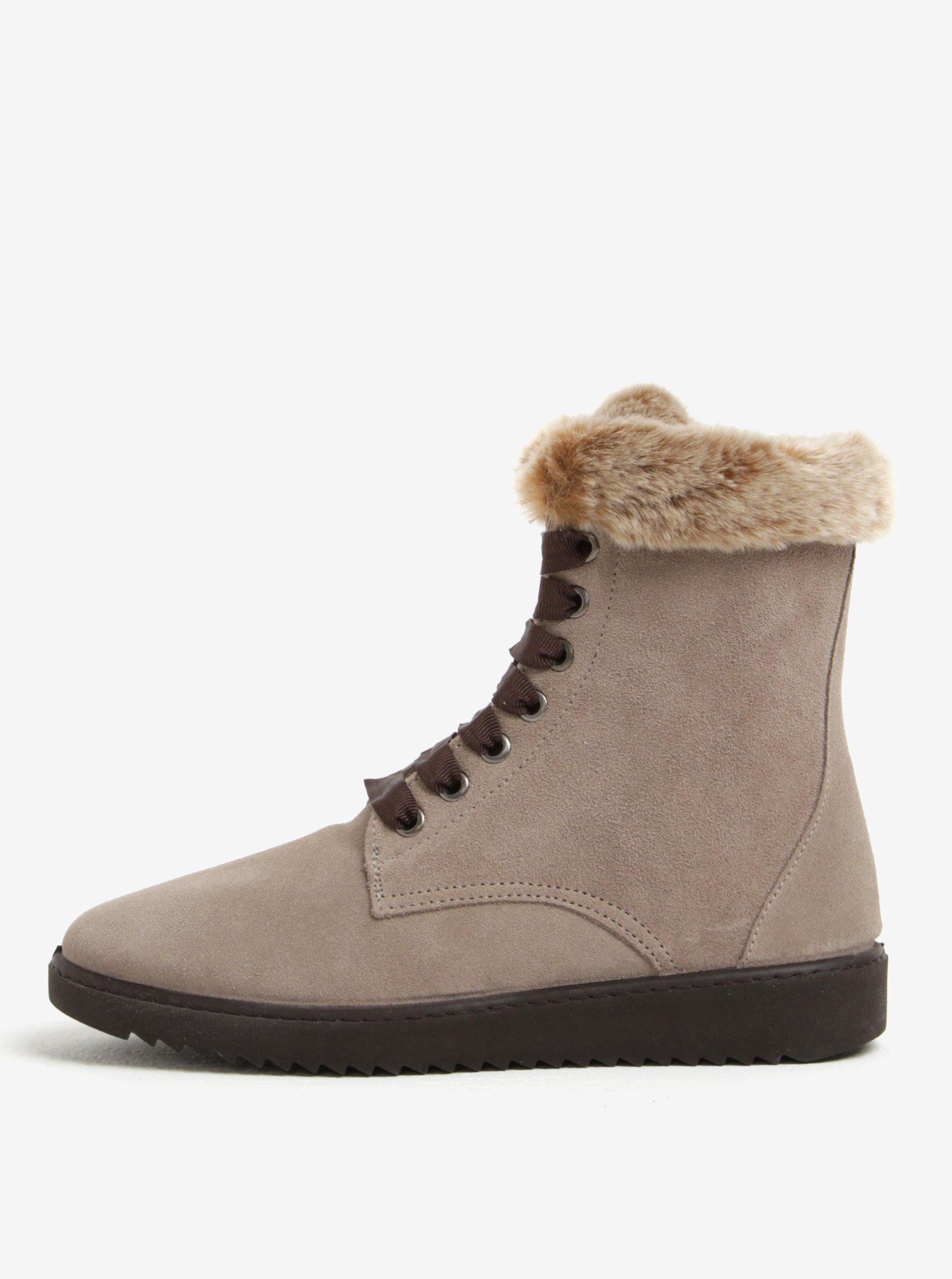48300b0f8d Sivé semišové členkové topánky s umelým kožúškom OJJU