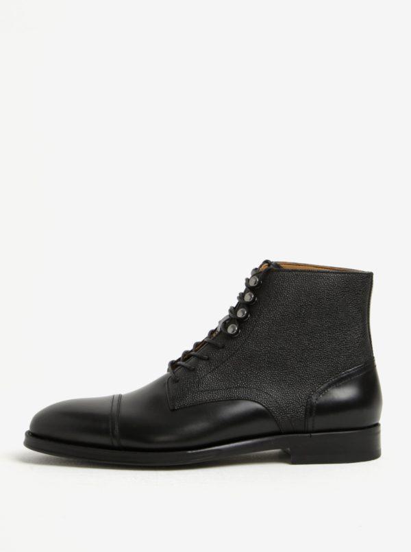 Čierne pánske kožené členkové topánky ALDO Semaj