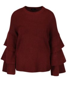 Vínový sveter s volánmi ONLY Flower