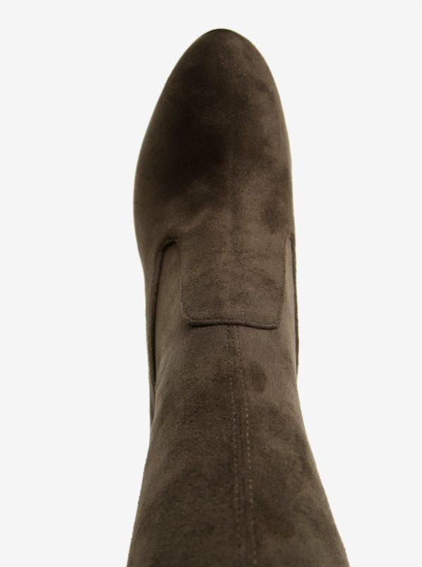 Kaki vysoké čižmy na podpätku ALDO Sumers