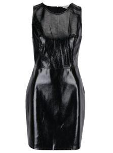 Čierne lesklé koženkové šaty bez rukávov Miss Selfridge