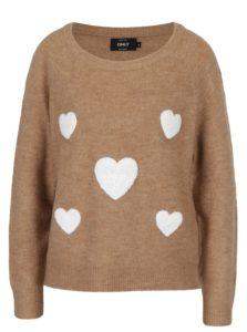 Hnedý melírovaný sveter s nášivkami ONLY Bruxelles