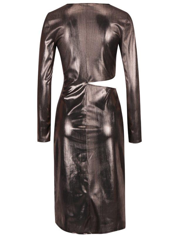 fcdcfa29c02c Ružové metalické šaty s prestrihom na boku Miss Selfridge