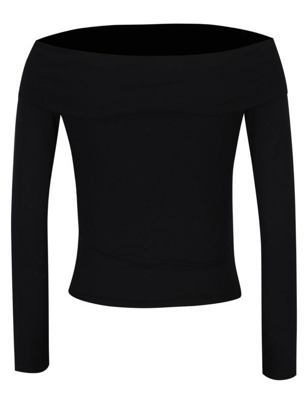 Čierne tričko s odhalenými ramenami Miss Selfridge