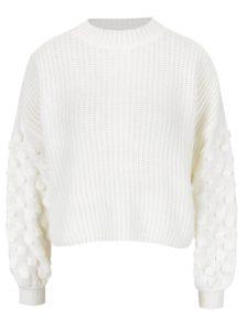 Krémový krátky sveter Miss Selfridge