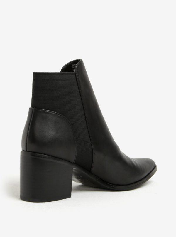 Čierne dámske kožené členkové topánky na podpätku ALDO Etiwiel