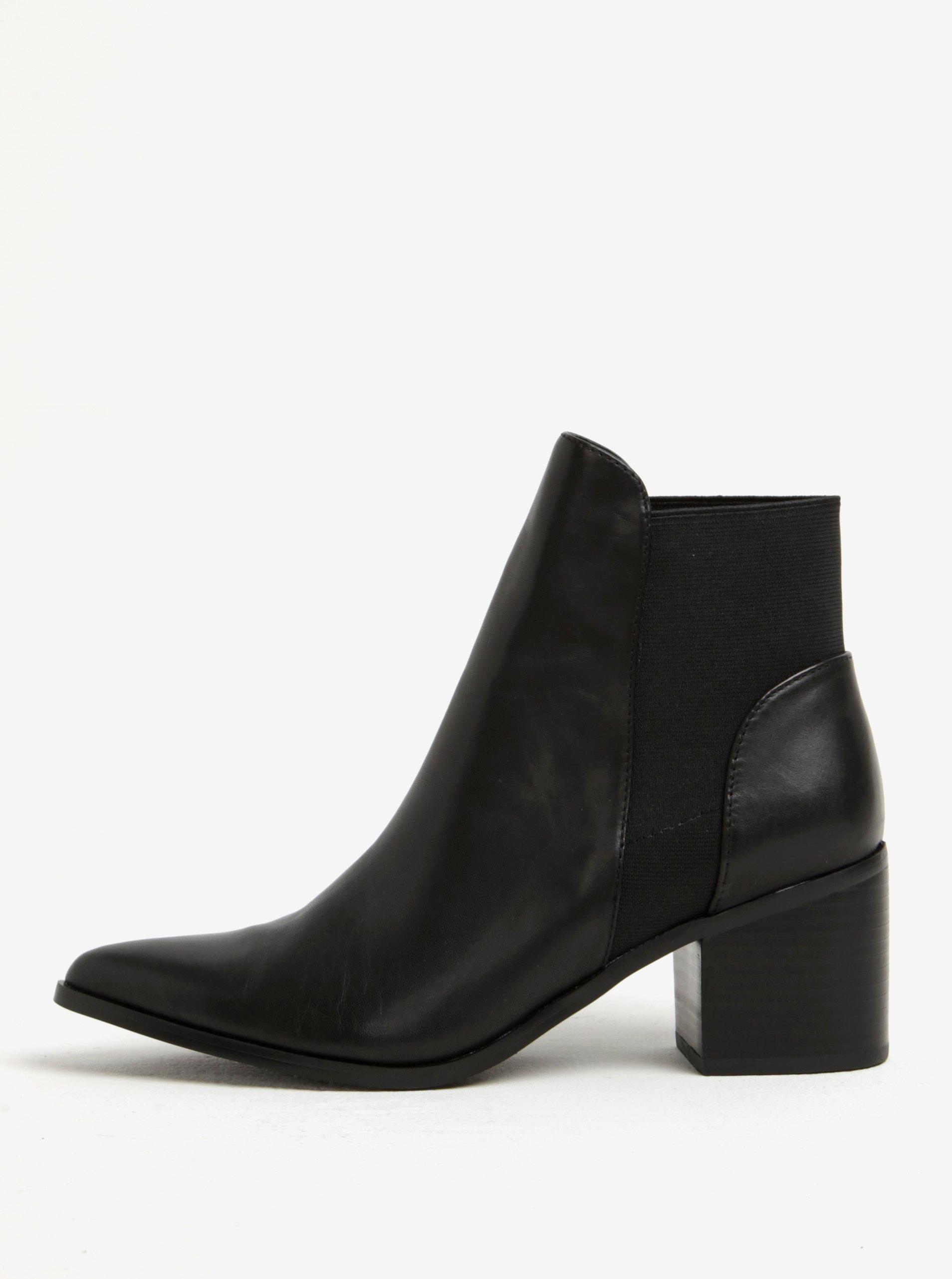 adf98e610962 Čierne dámske kožené členkové topánky na podpätku ALDO Etiwiel