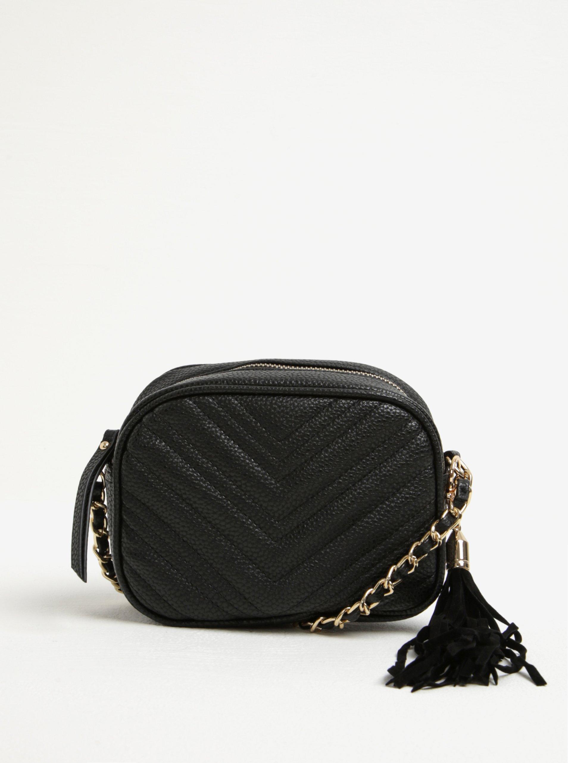 859d3102e9 Čierna malá prešívaná crossbody kabelka so strapcom Miss Selfridge ...