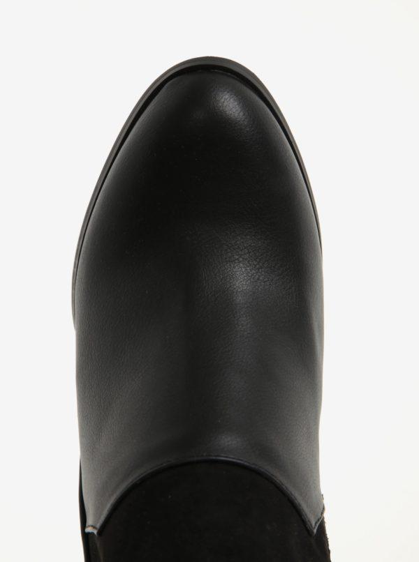 Čierne členkové topánky na podpätku s ozdobnými detailmi Miss Selfridge Drummer