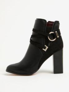 Čierne členkové topánky na podpätku s ozdobnými detailmi Miss Selfridge Dallas