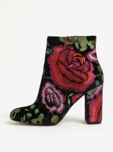 Čierne zamatové kvetované členkové topánky na podpätku Miss Selfridge Darcie