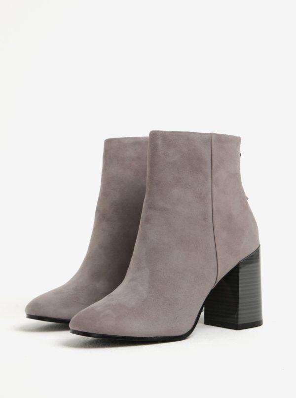 Sivé dámske členkové semišové topánky na podpätku ALDO Jola