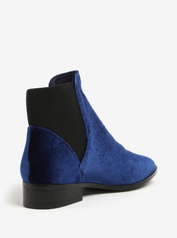 Tmavomodré dámske zamatové chelsea topánky ALDO Nydia