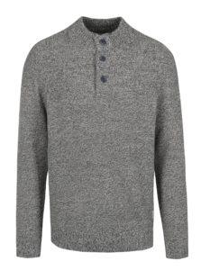 Modrý melírovaný sveter s gombíkmi Jack & Jones Hay