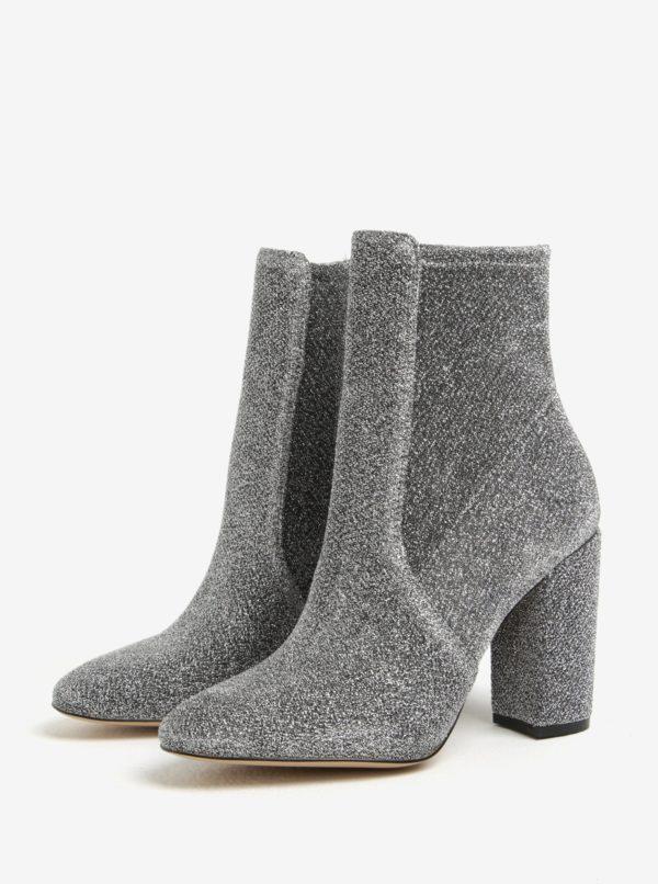 Dámske ligotavé členkové topánky v striebornej farbe ALDO Aurella