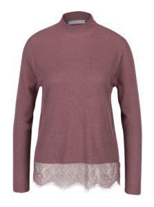 Fialový tenký sveter s čipkovým spodným lemom Jacqueline de Yong Victory